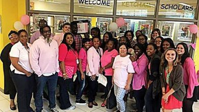 Staff at Ketcham Elementary School in Southeast show support for breast cancer research. (Courtesy of Ketcham Elementary School via Facebook)