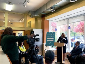 Deputy Mayor for Greater Economic Opportunity Courtney Snowden speaks at a news conference to launch the city's Climate Ready DC plan on Tuesday, Nov. 15 at the Riverside Healthy Living Center in Northwest. /Courtesy of DOEE