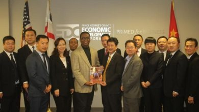 Prince George's County Economic Development Corporation President Jim Coleman (sixth from left) meets with members of the China SanDing Delegation. (Courtesy of PGCEDC)