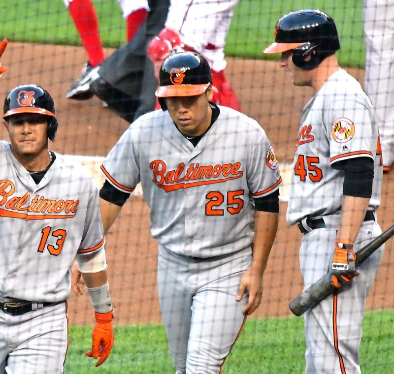 Baltimore Orioles third baseman Manny Machado acknowledges the crowd after hitting a home run in the first inning of the Orioles' 10-8 win over the Washington Nationals on Wednesday, Aug. 24 at Nationals Park in southeast D.C. /Photo by John E. De Freitas