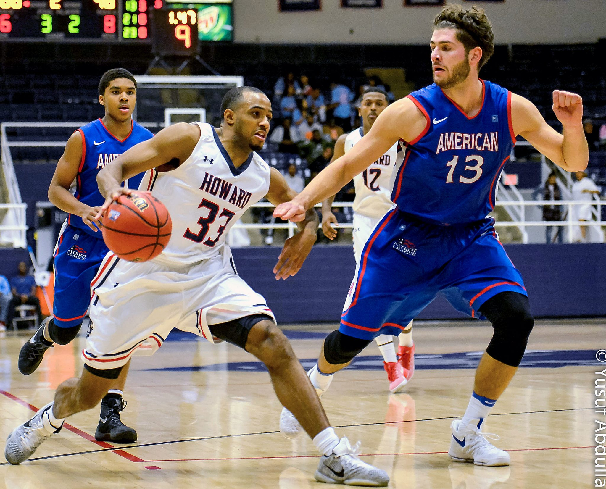 """Howard Bison guard James """"JT"""" Miller scored 30 points for the second straight game in Howard's 71-54 win against American University at Burr Gymnasium in Northwest on Saturday, Dec. 3. /Photo of courtesy Abdullah Yusuf"""