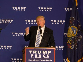 Gettysburg, Pa, United States - October 22, 2016: Presidential candidate Donald Trump promises the repeal of ObamaCare in his 'First 100 days' agenda during a media event in Gettysburg.