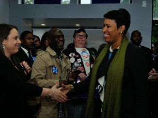 DC Mayor Muriel Bowser greets Ward 6 residents during the Hillary Clinton Campaign open house at 1227 Pennsylvania Avenue, SE on Wednesday, May 18th. /Photo by Patricia Little @5feet2