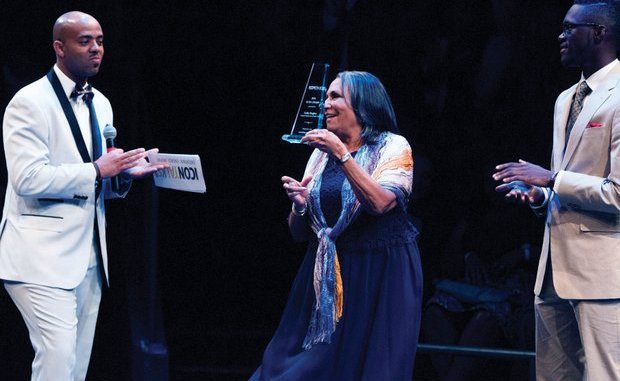 Media Mogul Cathy Hughes, founder and Chairperson of Radio One, Inc. delivers remarks after receiving an award for being an Icon honoree during the Icon Talks Empowerment Tour on Thursday, June 30 at the Arena Stage Mead Center for American Theater in Southwest. /Photo by Patricia Little