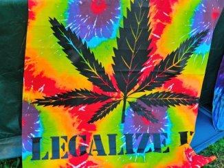 A hemp tye-dye blanket on display at the National Cannabis Festival, Saturday, April 23, 2016 at RFK Stadium. /Photo by Patricia Little @5feet2