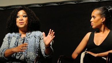 Producer Shonda Rhimes explains the show concept along with Kerry Washington during a panel discussion sponsored by the Smithsonian Associates on Thursday April 28, 2016 at the UDC Theater Arts auditorium in northwest./Photo by Patricia Little @5feet2