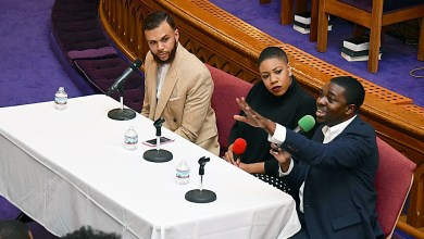 """From left: Singer Jidenna, CNN political commentator Symone Sanders and Stephen Green, president of the NAACP's Youth and College Division, attend the """"People's Inauguration"""" rally at Metropolitan AME Church in Northwest on Saturday, Jan. 21. (Travis Riddick/The Washington Informer)"""