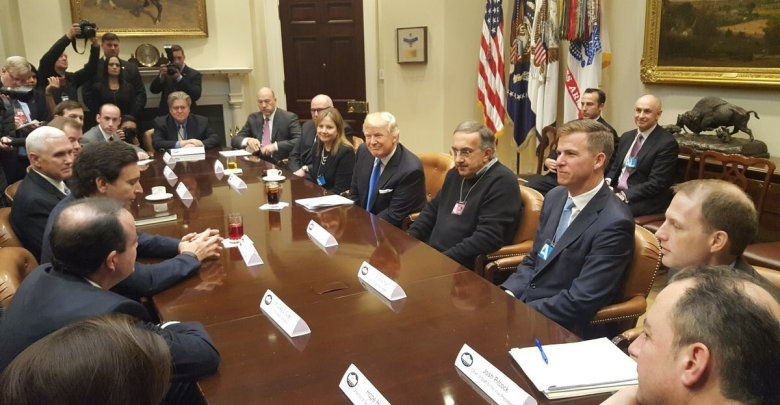 President Donald Trump meets with automobile leaders in the Roosevelt Room of the White House on Jan. 24, 2017. (Courtesy photo)