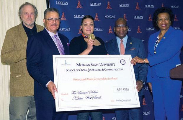 (From left to right) Hamilton Fish, Chair Board of Visitors, School of Global Journalism and Communication; DeWayne Wickham, Dean and Professor of Journalism; Journalist Kirsten West Saval; Dr. David Wilson, President, Morgan State University; and Provost Dr. Gloria Gibson. Ms. Saval received a medal and $10,000 check for exemplary reporting on Black life in America during the Vernon Jarrett Medal of Honor Ceremony on Tuesday, June 28, 2016 at the National Press Club in Northwest. /Photo by Patricia Little @5feet2