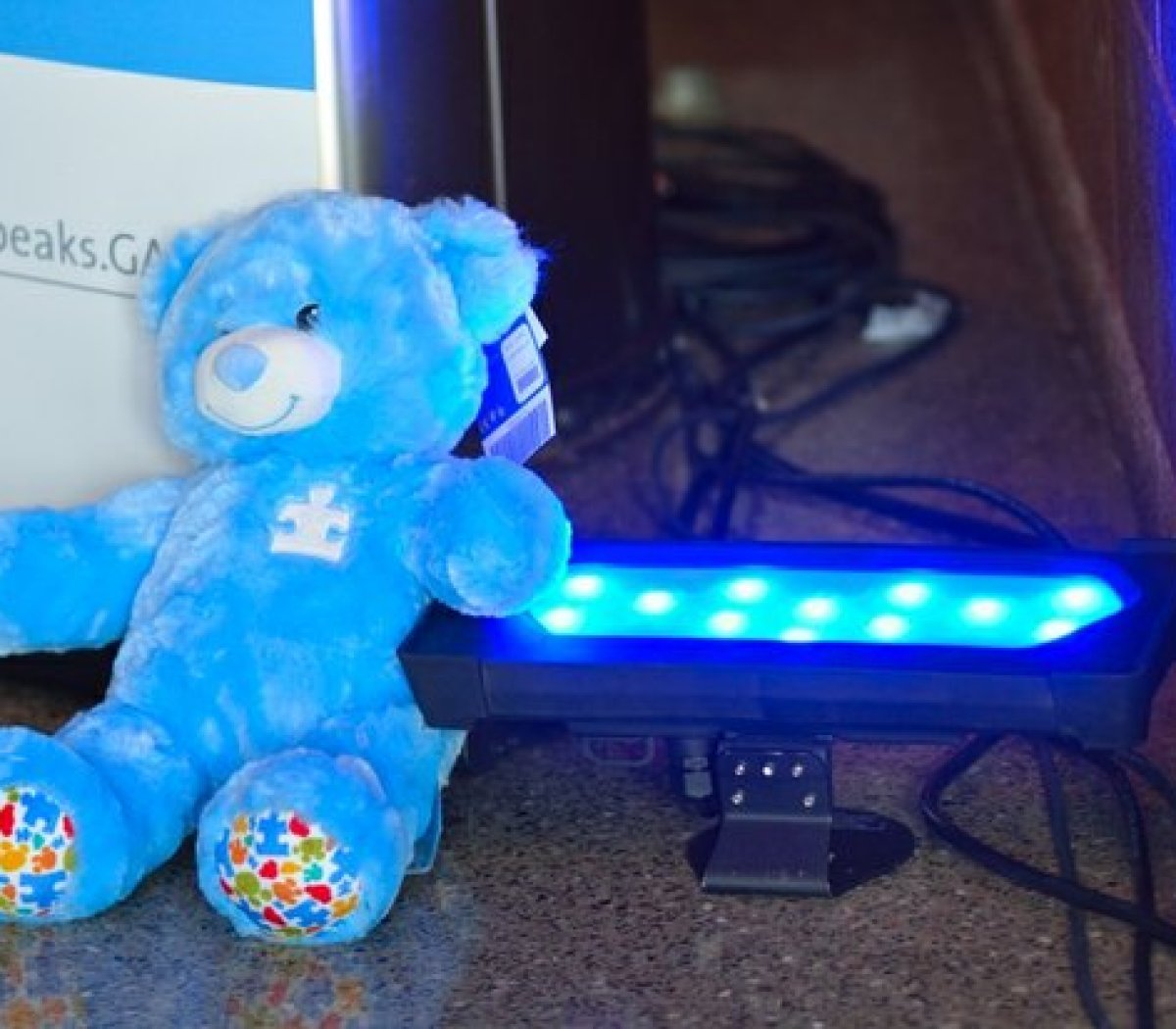 Blue teddy bears and lights decorate the lobby of THEARC during Autism Speaks Light It Up Blue event, Saturday, April 2, 2016 in Southeast. /Photo by Patricia Little @5feet2