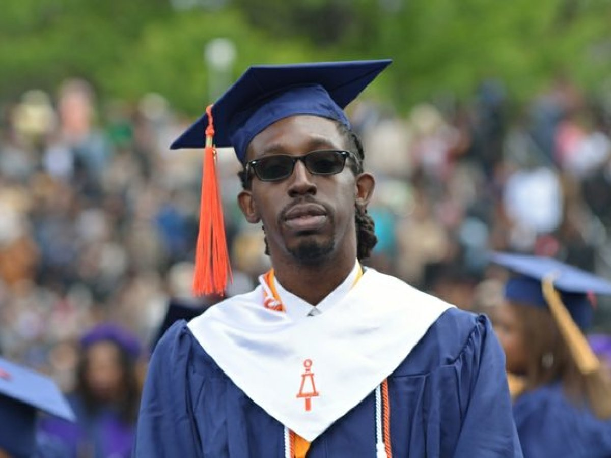 A student wears sunglasses during the 148th Commencement Convocation at Howard University on Saturday, May 7, 2016 in Northwest. /Photo by Patricia Little
