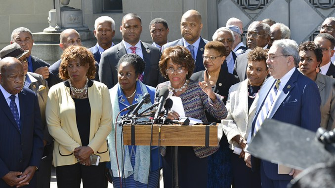More than 75 percent of the members of the Congressional Black Caucus have Black Chiefs of Staff. This photo was taken during a recent CBC press conference outside of the Department of Justice in Washington, D.C. (Freddie Allen/AMG/NNPA)