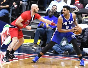 Philadelphia 76ers center Jahlil Okafor posts up against Washington Wizards center Marcin Gortat in the second quarter of the Wizards' 109-93 win at Verizon Center in D.C. on Jan. 14.