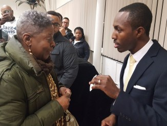 Jazz Lewis (right) speaks with Fairmount Heights Mayor Patricia Waiters after the Prince George's County Democratic Central Committee chose Lewis to fill a vacant seat in the 24th legislative district on Jan. 24.