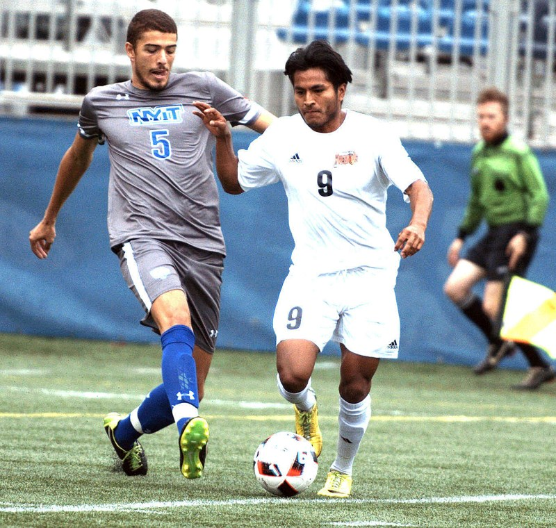University of the District of Columbia midfielder Alejandro Ventura and New York Institute of Technology defender Marcos Enriquez vie for possession during a matchup at Georgetown University's Cooper Field in northwest D.C. on Saturday, Oct. 1. NYIT defeated UDC 3-0. /Photo by John E. De Freitas