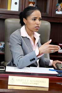 Prince George's County State's Attorney Angela Alsobrooks talks about domestic violence during a Feb. 22 interview in her office in Upper Marlboro. Alsobrooks remains one of the biggest advocates in the fight to combat domestic abuse, both mental and physical. (Travis Riddick/The Washington Informer)