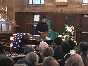 D.C. Mayor Muriel Bowser speaks during the funeral service for former D.C. Council member H.R. Crawford at Saint Francis Xavier Church in D.C. on Feb. 18. (Hamil R. Harris/The Washington Informer)