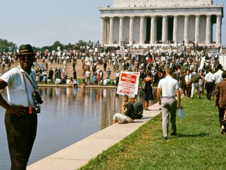 "A crowd gathers at the Lincoln Memorial for the March on Washington in ""I Am Not Your Negro."" (Courtesy of Magnolia Pictures)"