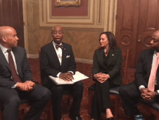 Sens. Cory Booker (left), Kamala Harris (second from right) and Tim Scott (right), the only African-American members of the U.S. Senate, participate in a bipartisan discussion in honor of Black History Month, moderated by Senate Chaplain Barry Black (second from left), on Feb. 27.