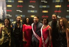 """From left: """"Media"""" actors Penny Johnson Jerald, Blue Kimble, Jillian Reeves, Brian White and Chrystee Pharris Pose with Mr. and Miss Howard University during a screening of the TV One film at AFI Silver Theatre in Silver Spring, Maryland on Feb. 22. (Jade James-Gist)"""