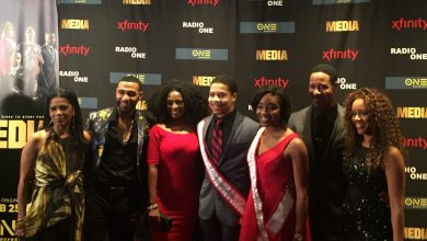 "From left: ""Media"" actors Penny Johnson Jerald, Blue Kimble, Jillian Reeves, Brian White and Chrystee Pharris Pose with Mr. and Miss Howard University during a screening of the TV One film at AFI Silver Theatre in Silver Spring, Maryland on Feb. 22. (Jade James-Gist)"