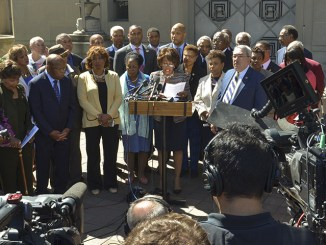 **FILE** Members of the Congressional Black Caucus hold a press conference outside of the Justice Department's D.C. headquarters in September 2016. (Freddie Allen/AMG/NNPA)