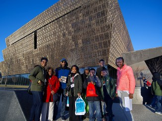 WI staff join community members for a visit to the Smithsonian's new African-American museum. (Lateef Mangum)