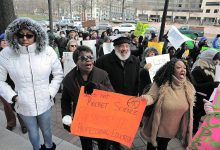DCPS teachers protest against insufficient salary increases and other issues during a March 3 rally at Freedom Plaza in Northwest. (Edward C. Jones)
