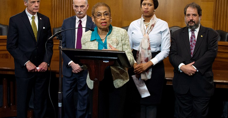 From left: Sen. Tom Carper (D-Delaware), D.C. Council Chair Phil Mendelson, Congresswoman Eleanor Holmes Norton, Mayor Muriel Bowser and Shadow Senator Paul Strauss announce the introduction of the Washington, DC Admission Act during a March 1 press conference at the Capitol. (Lateef Mangum)