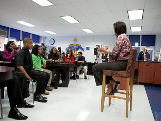 Michelle Obama visits Ballou Senior High School in 2011, encouraging them to work hard to get the most out of their opportunities for education. (Courtesy photo)