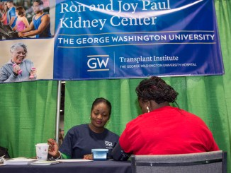 Staff and faculty from the GW Hospital Transplant Institute provided kidney health education and blood pressure screening at the NBC4 Health and Fitness Expo, in partnership with the GW/Ron and Joy Paul Kidney Center.