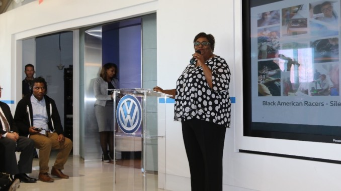 Machelle Williams, VWGoA senior director of diversity and CSR, welcomes the Black American Racers special guests to Herndon Headquarters for the Lunch & Learn event.