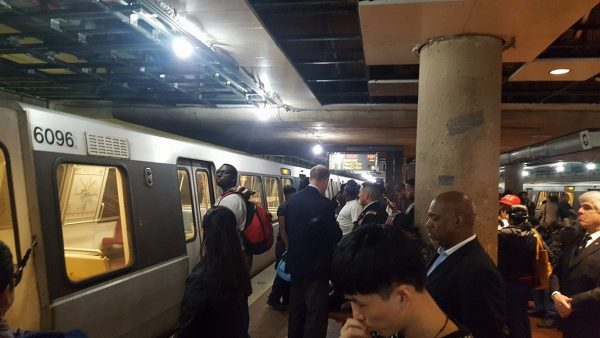 Passengers at L'Enfant Plaza in southwest D.C. had to exit a Silver Line train on March 9 after it malfunctioned and board an Orange Line train a few minutes later. (William J. Ford/The Washington Informer)