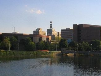 View of the Downtown skyline from the Flint River (Courtesy of Wikimedia Commons)