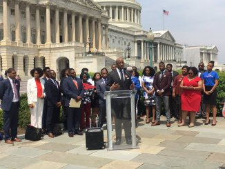 Michael Sorrell, president of Paul Quinn College in Dallas, advocates for historically black colleges and universities during a rally on Capitol Hill on April 27. (Courtesy of the HBCU Collective)