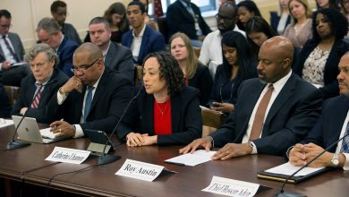 From left: Joe Rich, co-director of the Fair Housing and Community Development Project; former Oakland, Calif., police Capt. Ron Davis; Catherine Lhamon, chair of the U.S. Commission on Civil Rights; Roy Austin, former U.S. ambassador to Trinidad and Tobago; and former Greenville, N.C., police Chief Hassan Aden participate in a forum on civil rights under the Trump administration at the Rayburn House Office Building in Northwest on April 6. (Mark Mahoney/The Washington Informer)