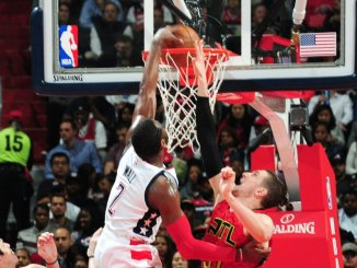Washington Wizards point guard John Wall drives for a dunk in the Wizards' 103-99 Game 5 win over the Atlanta Hawks at Verizon Center in D.C. on April 26. The Wizards lead the first-round series 3-2. (Courtesy of the Wizards via Twitter)