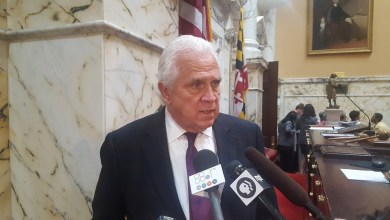"""Maryland Senate President Thomas V. """"Mike"""" Miller speaks to reporters about Sen. Nathaniel Oaks and the ethics law legislation unanimously passed in the Senate on April 7. (William J. Ford/The Washington Informer)"""