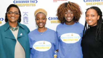 Howard University sophomores Alexa Imani Spencer (second from left) and Noni Marshall (second from right) were selected for the 2017 NNPA Discover the Unexpected Journalism Fellowship program. Gracie Lawson-Borders (left), the dean of the School of Communications at Howard University, and Tatyana Hopkins (right), a staff writer for The Washington Informer and former DTU Fellow, joined them in the photo. (Freddie Allen/AMG/NNPA)