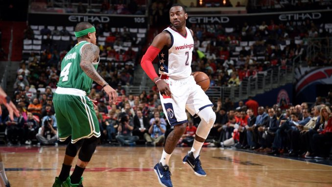 John Wall (right) and the Washington Wizards bested Isaiah Thomas (left) and the Boston Celtics 116-89 in Game 3 of the Eastern Conference semifinals at Verizon Center in D.C. on May 4. (Courtesy of the Wizards via Twitter)