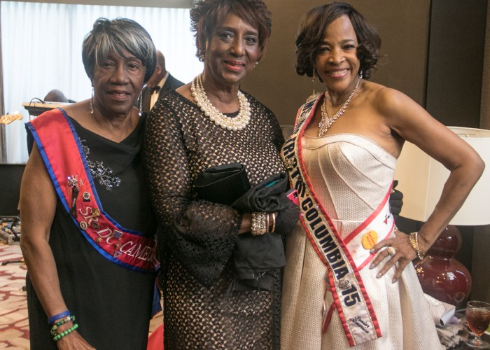 (L-R) Senior Ms. District of Columbia Cameo Selma Dillard, Lacy O'Neil, a 2016 inductee, and Wendy Bridges, Ms. Senior District of Columbia and 2015 inductee at the 8th Annual Cardozo All-Met Hall of Fame Awards Dinner held on April 30, 2017 in Upper Marlboro. /Photo by Shevry Lassiter