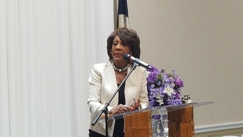Rep. Maxine Waters (D-California) addresses a prayer breakfast at Southern Friendship Missionary Baptist Church in Temple Hills on May 19. (William J. Ford/The Washington Informer)