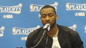 Washington Wizards point guard John Wall speaks to the media after the team's 116- 89 win over the Boston Celtics in Game 3 of the Eastern Conference semifinals at Verizon Center in D.C. on May 4. (William J. Ford/The Washington Informer)