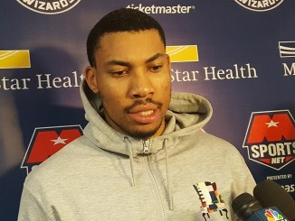 Washington Wizards forward Otto Porter Jr. speaks with reporters after practice on May 13, two days ahead of the team's Game 7 on the road against the Boston Celtics in the Eastern Conference semifinal. (William J. Ford/The Washington Informer)