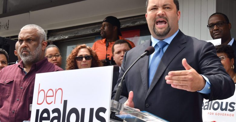 Former NAACP President Ben Jealous formally announces his candidacy for Maryland governor in front of his cousin's floral business in Baltimore on May 31. (Travis Riddick/The Washington Informer)