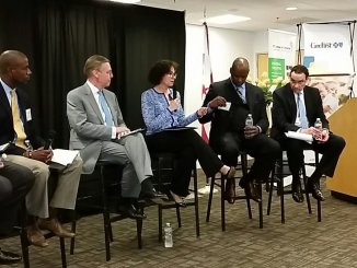 D.C. city and health care officials discuss the health care enrollment period at a recent DC Health Link-sponsored event. (Courtesy of DC Health Link via Twitter)