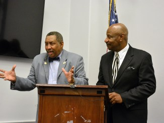 Frank Malone (left), 100 Fathers Inc., president and CEO, and Tyrone Parker, president of the Alliance of Concerned Men, speak during the Celebration of Fathers on Capitol Hill at the Canon House Office Building in Southeast on June 16. (Roy Lewis/The Washington Informer)