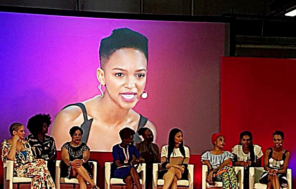 Nandi Madida attends the Natural Hair Academy Conference. (Courtesy of allforwomen.co.za)