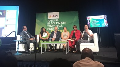 Benjamin Chavis, Tia Hill, Chris Stewart, Marietta English, Lynn Jennings and Elizabeth Primas participate in a town hall meeting on education during the National Newspaper Publishers Association's annual convention at the Gaylord National Resort and Convention Center in Oxon Hill, Md., on June 20.