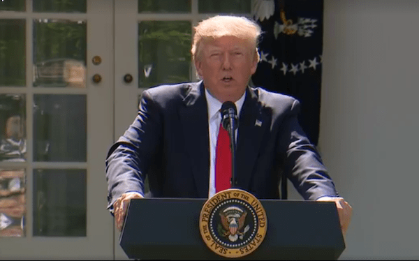 President Donald Trump speaks during a June 1 news conference at the White House Rose Garden to announce that he will withdraw the United States from the Paris climate deal.